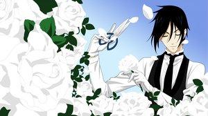 Rating: Safe Score: 16 Tags: all_male black_hair flowers gloves kuroshitsuji male petals rose sebastian_michaelis User: scarletwolf963