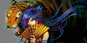Rating: Safe Score: 102 Tags: animal chinese_clothes chinese_dress fan original tiger watermark wenqing_yan_(yuumei_art) User: FormX