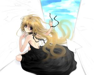 Rating: Safe Score: 9 Tags: blonde_hair blue_eyes bow clouds collar dress jpeg_artifacts long_hair ribbons see_through sky User: 秀悟