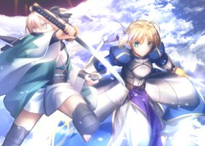 Rating: Safe Score: 27 Tags: armor artoria_pendragon_(all) blonde_hair boots bow clouds dress fate/grand_order fate_(series) green_eyes japanese_clothes katana migiha okita_souji_(fate) saber short_hair sky sword weapon yellow_eyes zettai_ryouiki User: RyuZU