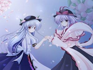 Rating: Safe Score: 15 Tags: blue_hair dress hat hinanawi_tenshi long_hair nagae_iku petals purple_hair red_eyes ribbons short_hair touhou User: pantu
