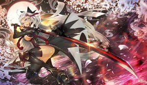 Rating: Safe Score: 52 Tags: breasts cherry_blossoms cleavage fate/grand_order fate_(series) flowers gray_eyes khanshin long_hair moon okita_souji_alter okita_souji_(fate) sky sword water weapon white_hair User: BattlequeenYume