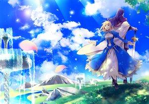 Rating: Safe Score: 83 Tags: artoria_pendragon_(all) clouds fate_(series) fate/stay_night fate/zero futaba_hazuki lancelot_(fate) petals saber sword water weapon User: FormX