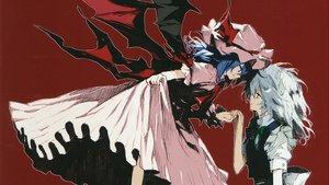 Rating: Safe Score: 104 Tags: 2girls blue_eyes blue_hair dress gray_hair hat izayoi_sakuya maid minakata_sunao red red_eyes remilia_scarlet touhou vampire wings User: Rihardo