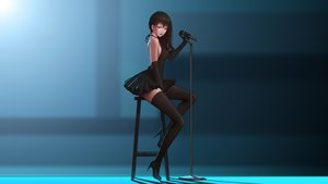 Rating: Safe Score: 255 Tags: dress elbow_gloves gloves long_hair maredoro microphone no_bra original photoshop red_eyes thighhighs User: gnarf1975