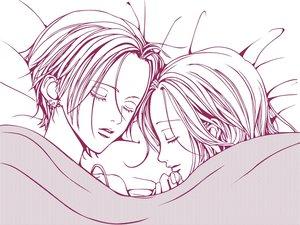 Rating: Safe Score: 15 Tags: 2girls bed hachi jpeg_artifacts monochrome nana nana_(series) osaki_nana white User: Oyashiro-sama