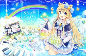 Rating: Safe Score: 45 Tags: animal_ears blonde_hair blue_eyes blush book bow choker dress flowers instrument lolita_fashion long_hair original paper piano planet rainbow sakura_oriko stars User: otaku_emmy