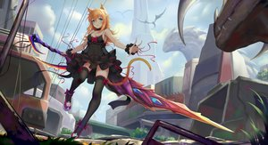 Rating: Safe Score: 74 Tags: blonde_hair breasts catgirl cleavage dress green_eyes long_hair original ruins see_through sonic0_0 sword thighhighs weapon User: RyuZU