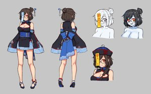 Rating: Safe Score: 52 Tags: breasts brown_hair chinese_clothes chinese_dress cleavage dress fang glasses gray hat mei_(overwatch) ofuda overwatch red_eyes short_hair terras User: otaku_emmy