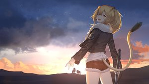 Rating: Safe Score: 97 Tags: animal animal_ears arknights blonde_hair candy catgirl clouds lion liu_lan lollipop ponytail shorts siege_(arknights) silhouette sky stars sunset tail weapon yellow_eyes User: Dreista