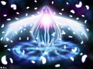 Rating: Safe Score: 11 Tags: air angel feathers kannabi_no_mikoto long_hair magic nude stars tagme_(artist) watermark wings User: Oyashiro-sama