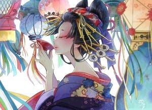 Rating: Safe Score: 67 Tags: black_hair drink headdress japanese_clothes kimono nekozuki_yuki original sake short_hair signed User: RyuZU