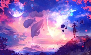 Rating: Safe Score: 122 Tags: clouds landscape moon original planet pointed_ears ryky scenic short_hair signed sky sunset tail User: BattlequeenYume
