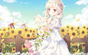 Rating: Safe Score: 196 Tags: blonde_hair cafe_sourire dress flowers nyanya ogiwara_kyouko petals red_eyes summer_dress sunflower User: Wiresetc