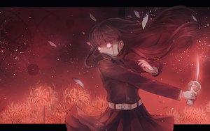 Rating: Safe Score: 32 Tags: black_hair blood flowers jpeg_artifacts katana kimetsu_no_yaiba long_hair myaaco red red_eyes sword tsuyuri_kanao weapon User: FormX