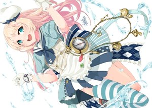 Rating: Safe Score: 40 Tags: alakoala_shoushou alice_in_wonderland anthropomorphism apron aqua_eyes blonde_hair blush bow chain cosplay gloves hat jervis_(kancolle) kantai_collection long_hair ribbons school_uniform signed thighhighs water white wristwear User: otaku_emmy