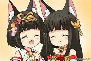 Rating: Safe Score: 33 Tags: 2girls animal_ears anthropomorphism azur_lane black_hair cat_smile foxgirl gradient headdress japanese_clothes loli long_hair miicha miko mutsu_(azur_lane) nagato_(azur_lane) short_hair waifu2x watermark User: otaku_emmy