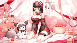 Rating: Safe Score: 51 Tags: bandage bandaid barefoot bicolored_eyes blush bow breasts cake cherry cleavage cross dress food fruit garter goth-loli headdress kuromi lillly lolita_fashion long_hair original red_eyes sanrio strawberry User: BattlequeenYume