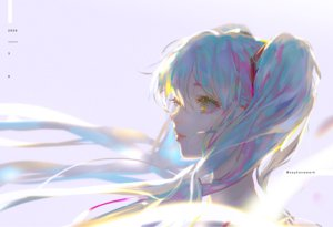 Rating: Safe Score: 25 Tags: blue_hair hatsune_miku long_hair say_hana twintails vocaloid watermark yellow_eyes User: FormX
