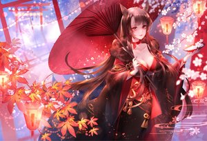 Rating: Safe Score: 80 Tags: akagi_(azur_lane) animal_ears anthropomorphism azur_lane brown_hair cherry_blossoms flowers foxgirl japanese_clothes kimono leaves long_hair red_eyes torii umbrella yu_jiu User: BattlequeenYume
