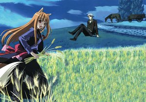 Rating: Safe Score: 38 Tags: animal animal_ears clouds craft_lawrence dress grass gray_eyes gray_hair horo horse landscape long_hair ookami_to_koushinryou orange_hair red_eyes scenic short_hair sky tail wolfgirl User: 秀悟