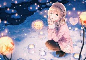 Rating: Safe Score: 95 Tags: blush green_eyes hat hiten_goane_ryu original snow snowman winter User: BattlequeenYume