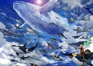 Rating: Safe Score: 55 Tags: all_male animal bird blonde_hair clouds fish male original penguin rii2 short_hair sky wristwear User: FormX