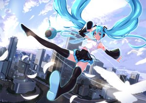 Rating: Safe Score: 125 Tags: animal aqua_eyes aqua_hair bird building city clouds feathers hatsune_miku long_hair nanahime_(aoi) robot skirt thighhighs twintails vocaloid User: Flandre93