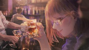 Rating: Safe Score: 36 Tags: drink glasses male myrockys orange_eyes original short_hair watermark User: sadodere-chan