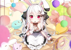 Rating: Safe Score: 82 Tags: animal_ears apron bed breasts bunny_ears cleavage food gloves long_hair maid original pocky red_eyes sen_ya tokisaki_mio twintails white_hair User: BattlequeenYume