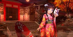 Rating: Safe Score: 75 Tags: autumn black_hair building japanese_clothes leaves long_hair mask moon moonknives original tree umbrella User: gnarf1975
