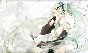 Rating: Safe Score: 44 Tags: butterfly elbow_gloves gloves green_hair hatsune_miku headphones long_hair marumoru tie twintails vocaloid water zoom_layer User: Shupa