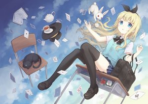 Rating: Safe Score: 90 Tags: 104 alice_in_wonderland alice_(wonderland) animal aqua_eyes blonde_hair book bow cat cheshire_cat clouds drink flowers hat headband long_hair original rabbit school_uniform skirt sky thighhighs white_rabbit User: RyuZU