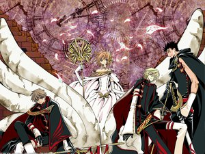 Rating: Safe Score: 24 Tags: black_hair blonde_hair blue_eyes brown_eyes brown_hair clamp dress elbow_gloves fay_d_flourite feathers gloves green_eyes group kurogane red_eyes sakura_(tsubasa) staff sword syaoran tsubasa_reservoir_chronicle uniform weapon User: Oyashiro-sama