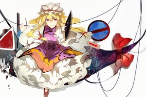 Rating: Safe Score: 70 Tags: blonde_hair dress fan pudding_(8008208820) purple_eyes touhou yakumo_yukari User: humanpinka