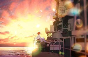 Rating: Safe Score: 63 Tags: anthropomorphism hiei_(kancolle) kantai_collection landscape saki_(little_crown) scenic sunset thighhighs User: Wiresetc