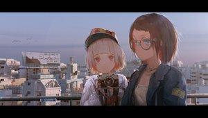 Rating: Safe Score: 60 Tags: 2girls blue_eyes brown_hair building camera city glasses hat novelance original pink_eyes short_hair sky User: RyuZU