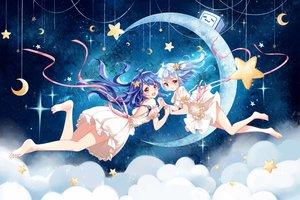 Rating: Safe Score: 73 Tags: 2girls barefoot bili_bili_douga bili_girl_22 bili_girl_33 clouble clouds dress long_hair moon ribbons stars User: BattlequeenYume