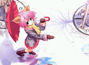 Rating: Safe Score: 15 Tags: animal_ears catgirl gloves pink_hair scarf skirt tagme ueda_ryou umbrella User: Oyashiro-sama