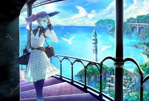 Rating: Safe Score: 92 Tags: animal bird blonde_hair city clouds dress gloves hat kuroyuki original pantyhose scenic see_through stairs water User: Flandre93