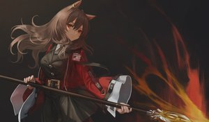 Rating: Safe Score: 48 Tags: animal_ears arknights brown_hair fire hara_shoutarou long_hair magic red_eyes skyfire_(arknights) spear weapon User: Dreista