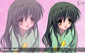 Rating: Safe Score: 13 Tags: clannad green_hair ibuki_fuuko key logo long_hair pajamas yellow_eyes zoom_layer User: Oyashiro-sama
