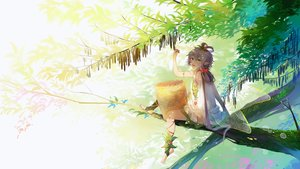 Rating: Safe Score: 46 Tags: blush dress gray_hair green_eyes long_hair luo_tianyi pointed_ears stuko tree twintails vocaloid vocaloid_china wings User: yuu_chan15