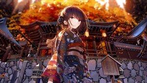 Rating: Safe Score: 80 Tags: atha autumn brown_hair japanese_clothes kimono original purple_eyes short_hair shrine User: Dreista