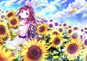 Rating: Safe Score: 21 Tags: a.i._channel aqua_eyes breasts brown_hair cleavage clouds dress flowers kappe_reeka kizuna_ai long_hair sky sunflower watermark User: BattlequeenYume