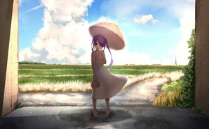 Rating: Safe Score: 34 Tags: breasts cleavage clouds cropped dress grass long_hair original purple_hair rakugakijunkie red_eyes scenic shade sky summer summer_dress twintails umbrella User: kyxor