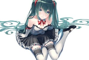 Rating: Safe Score: 0 Tags: aqua_eyes aqua_hair bow dress elbow_gloves garter gloves hatsune_miku long_hair thighhighs touboku vocaloid User: FormX