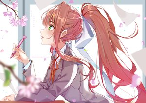 Rating: Safe Score: 46 Tags: bow brown_hair cherry_blossoms doki_doki_literature_club! flowers green_eyes long_hair monika_(ddlc) ponytail ribbons seifuku watermark xhunzei User: BattlequeenYume