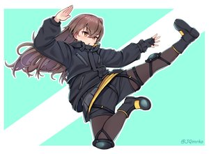 Rating: Safe Score: 6 Tags: anthropomorphism boots brown_hair girls_frontline gloves kick long_hair manme pantyhose shorts ump-45_(girls_frontline) yellow_eyes User: otaku_emmy
