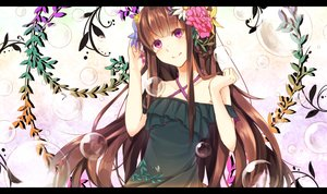 Rating: Safe Score: 34 Tags: brown_hair flowers gensou_aporo leaves long_hair original pink_eyes User: Flandre93